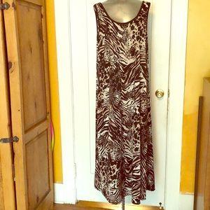 Black and beige animal print long dress 2X